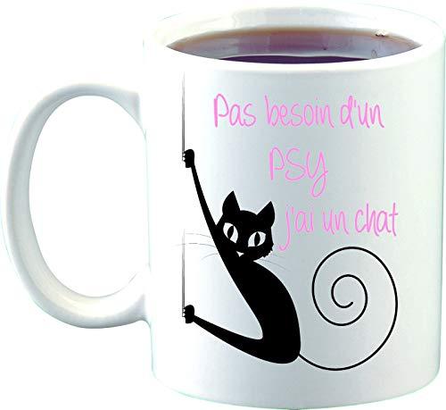 Sublimagecreations mug Chat, mug Humour, Pas Besoin d'un PSY J'Ai Un Chat, idée Cadeau
