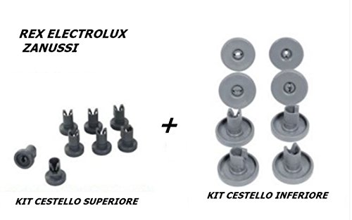 Rex Electrolux Zanussi - Kit de 16ruedas para la cesta superior e inferior del lavavajillas.