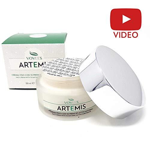 Vovees Artemis Crema Idratante Viso Antirughe con Acido Ialuronico Puro, 50ml | Antiage Giorno e Notte 100% | 10 Principi Attivi Naturali Bio | Made in Italy