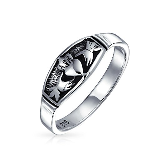 Bling Jewelry Sterling Silver anticato Fine celtica irlandese Claddagh Ring