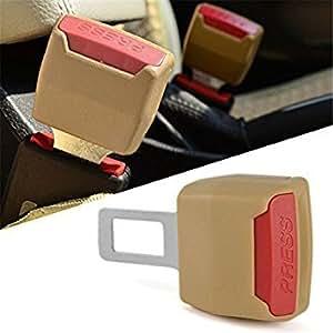 Goodway-2 Car Seat belt Clip Buckle Extender Support Safety Alarm Stopper Eliminator (Beige) for Hyundai Verna 4S1.6 Gamma S Petrol