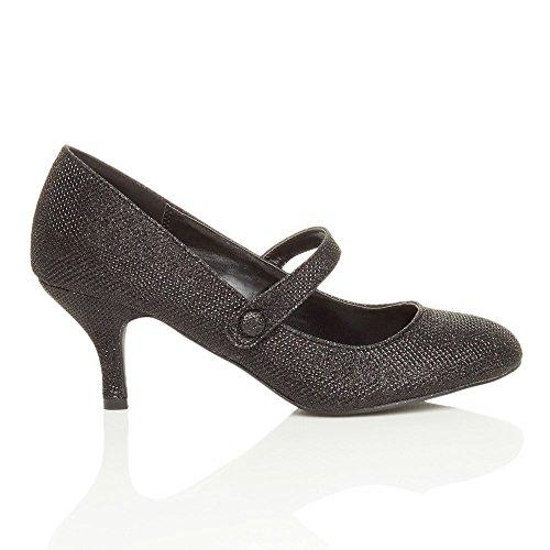 Femme moyen haute talon sangle babies travail fête soir élégant chaussure taille Noir Scintillante Paillettes