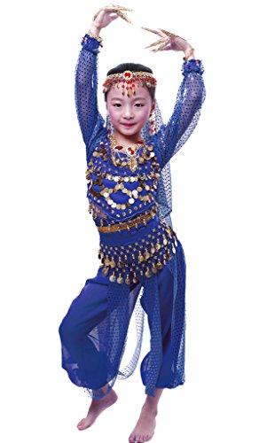 Girl Kostüm Harem - Mädchen lange Ärmel Bauchtanz Kostüm Set Alle Ornamente Königsblau XL