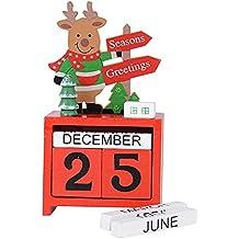 SERWOO Calendario Perpetuo Adviento Navidad Elk Reno Madera Caja Regalo Decoración Mesa Hogar Oficina Aula Ornamento