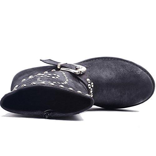 Alexis Leroy, Stivaletti Cavalier Biker alla caviglia fibbia borchiati donna Nero