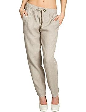 CASPAR Fashion KHS045 Pantalones Sueltos de Deporte para Mujer/Pantalón Casual de Lino