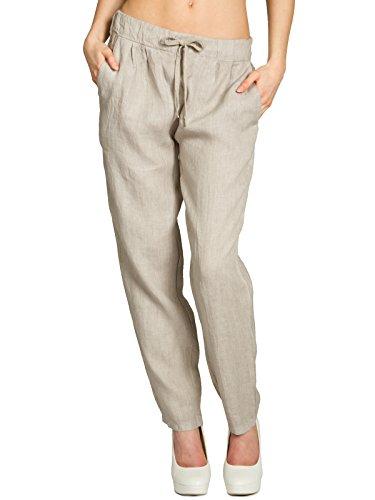 CASPAR KHS045 leichte lässige Damen Sommer Hose Leinenhose, Farbe:beige;Größe:M - DE38 UK10 IT42 ES40 US8 -