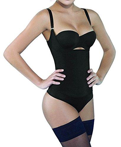 Camellias Damen Shapewear Nahtlos Offene Büste Bodysuit Taillenformer Figurformender Body Shaper Schwarz&Beige Schwarz mit Haken und Ösen