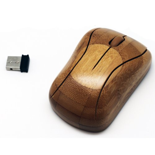 Primo Design Studio Bamboo Wireless Mouse with USB Dongle