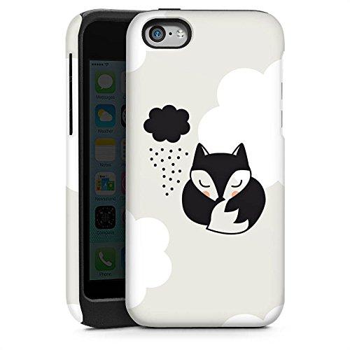 Apple iPhone 4 Housse Étui Silicone Coque Protection Renard Dormir Nuage Cas Tough brillant