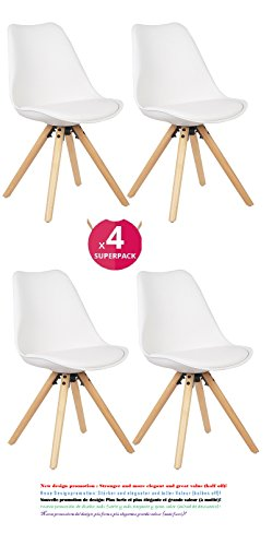 Comfortableplus set di 4 sedie da pranzo moderne tulip, sedile imbottito morbido, piedi in legno di faggio, schienale ergonomico, bianco