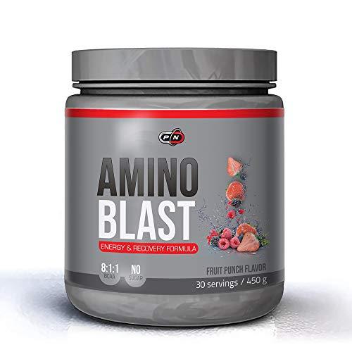 Pure Nutrition AMINO BLAST|Aminosäuren Komplex Pulver Hochdosiert|Intra Workout Energy Electrolyte Drink|Leucin Glutamin Beta Alanin Citrulline Taurin|BCAA 8 1 1|No Fat Carb 1350g 450g|90 30 Portionen