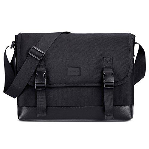 YongBe Herren Business Schwarz Nylon Aktentaschen Für Männer Vintage Classic 13 Zoll Laptop Schulter Umhängetasche Einkaufen Büro Arbeit Einstellbar Tragbare Handtasche,Black-35 * 13 * 25cm -