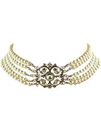 Trachtenschmuck Dirndl Kropfkette Perlen Collier weiß Kristall - Crystal klar - 5 reihig