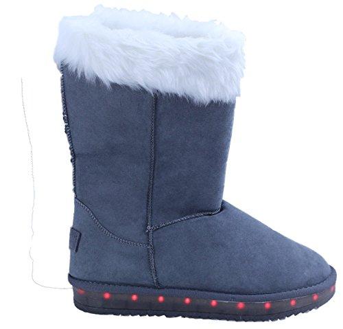 Glow Style Damen Mädchen LED Schuhe Boots Stiefel Kunstfell 4 Farben Versand Aus De