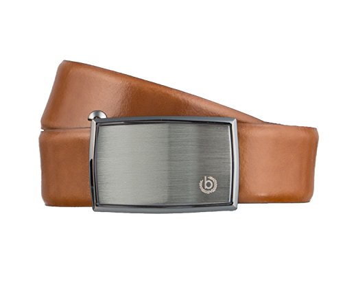 Bugatti Gürtel Herrengürtel Ledergürtel Automatikschließe Cognac 3156, Farbe:Braun, Länge:90
