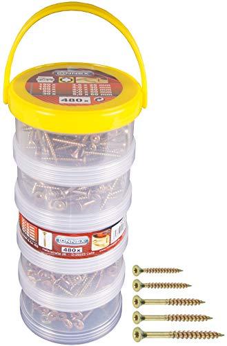 Connex Universalschrauben-Sortiment 480-teilig - Diverse Größen in Stapelbox - Senkkopf - TX Torx-Antrieb - Voll- & Teilgewinde - Gelb verzinkt / Schrauben-Set / Schrauben-Box / B30305