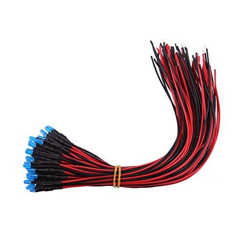 -verdrahtete veränderte LED- Diffuse Emittierende Leuchtdiode multi Farben Sortiert -Licht DC 9-12V(Blau-3mm) (Kostüm Diy Leicht)