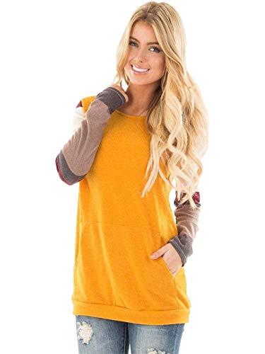 Damen Mode Pullover Langarm Rundhals Pulli Sweatshirt Tops Perfect Oberteile Langarmshirts Herbst Fashion Loose Basic T-Shirt Style (Color : Gelb, Size : S)