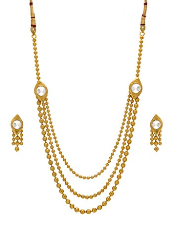 Bindhani Traditional Gold Plated Multistrand Long Rani Haar Necklace Earring Jewellery Set For Women  available at amazon for Rs.427