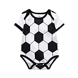 Kids Rompers,ba Zha Toddler Baby Kids Girls Boys Romper Soccer Print Jumpsuit Playsuit Outfits Rompers Jumpsuits Print Newborn Toddler Baby Girls Boys Jumpsuit Romper (18m, White)