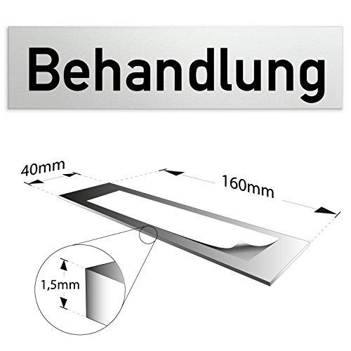 """Aluminium Türschild """"Behandlung"""" 160 x 40 x 1,5mm (Oberfläche veredelt) • Selbstklebend"""
