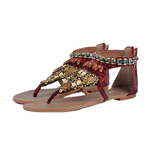 Transer® Damen Retro Flach Sandalen Casual Schuh Künstliche PU+Gummi Sandelholz Slipper( Bitte eine Nummer größer bestellen. Vielen Dank!) Rot