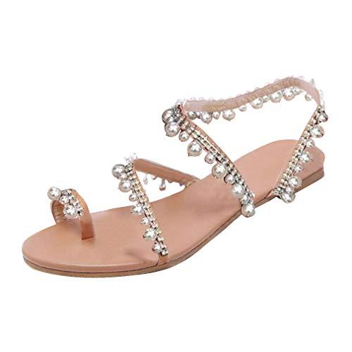 Frauen Flach mit Römischen Sandalen Runde Kopf Schuhe Mode Perlen Sandalen Bohemia Schuhe Outdoor Strand Sandaletten mit Strass Silber 35-43