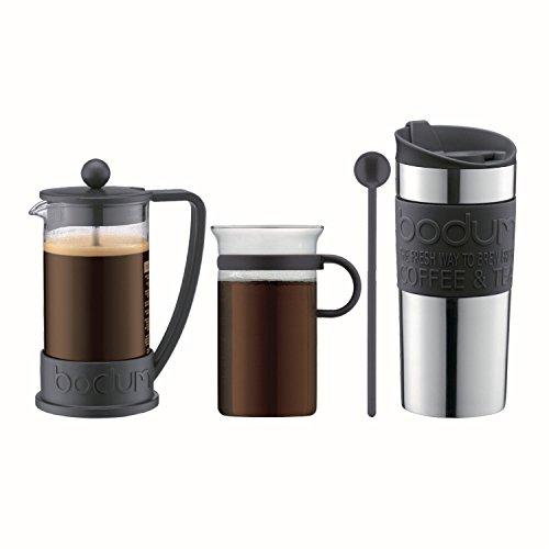 Bodum-Coffee-Set-Coffee-Press-Travel-Mug-Glass-Mug-Spoon-Various-Colours