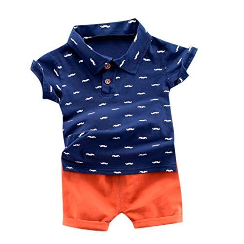 Beikoard Kinderkleidung Jungen Kleidung Set Sommer Gentleman Kleidung Baby Baumwolle Outfits Kinder T-Shirt + Shorts 2 stücke Anzug Kinder Casual Kostüm (Orange, 80)