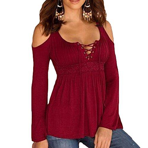 Plus Größe Shirts Frauen BLouses Gothic T-shirts Trägerlosen Blusen Spitze Verband Herbst Winter Schwarz Weiß Lila Rot Blau S-5XL Yuxin (Womens Größe Plus T-shirts)