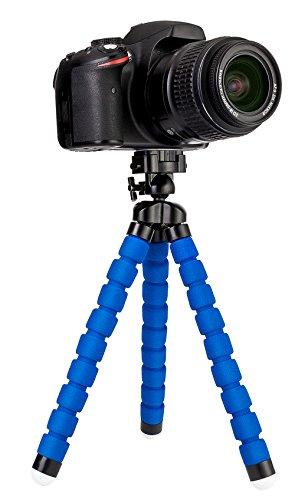 MyGadget Mini Dreibein Kamera Stativ - klein & ultra flexibel mit Schnellwechselplatte und Kugelkopf - universal Reise Tripod Kamerastativ in Blau