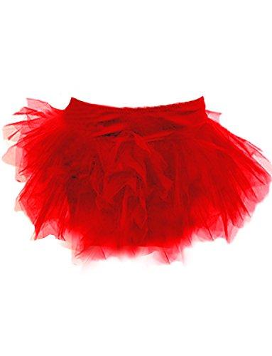 Yummy Bee Tutu Rock Burleske Halloween Kostüm Damen Größe 34 - 56 (Rot, 46)