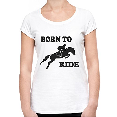 Born to ride horses Damen T-Shirt - Weiß Small (T-shirt Horse Youth)