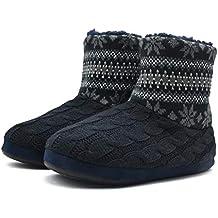 KuaiLu Hombres de Punto de Lana Patrón Trenzado Cálido Interior Zapatillas  Botas de estar por Casa 62e1c49f280