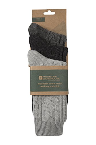 Mountain Warehouse Mountain Cable Mens Socks - 3 PK - 100% Cotton, Lightweight, Breathable, Natural Fibres with Knit Design & Great Value - Ideal with Winter Boots