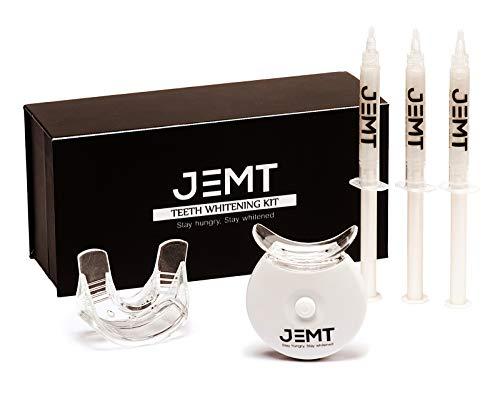 kit sbiancamento denti jemt 2.0, whitening teeth 10 minuti, professionale, gel sbiancante, luce led raggi x, senza perossido, white, rimuove macchie denti