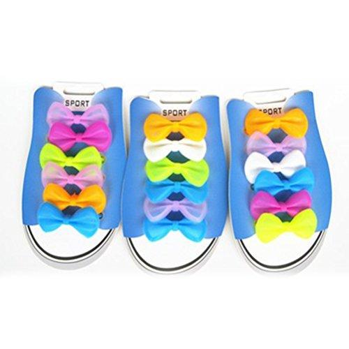 Tinksky 6 Paar keine Krawatte Schnürsenkel Silikon Schuh Schnürsenkel Laufschuh Schmetterling geformt für Kinder (zufällige Farbe) (Sneaker Geformte)