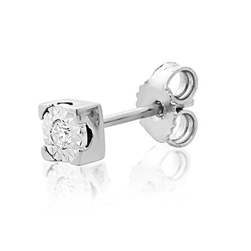 Mono Orecchino Oro e Diamanti Donna Uomo–375Oro Bianco 9Carati–0.015Carati