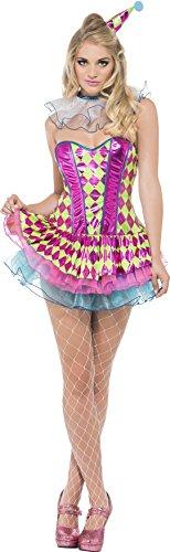 Fever, Damen Neon Harlekin Clown Kostüm, Tutu-Kleid, Kragen und Hut, Größe: S, (Harlekin Erwachsenen Clown Kostüme)