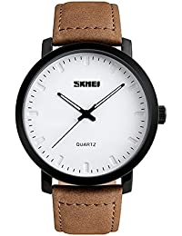 Yahe Men's Unique Analog Quartz Waterproof Business Casual Leather Band Dress Wrist Watch with Simple Fashion Classic White Time Mark Design