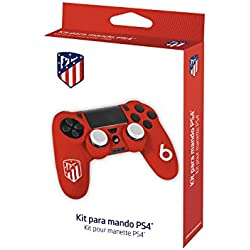 Funda protectora de silicona para mando PS4 - Carcasa blanda antideslizante con Thumb grips caps de precisión para joysticks - Accesorios videojuegos con licencia oficial Atlético de Madrid