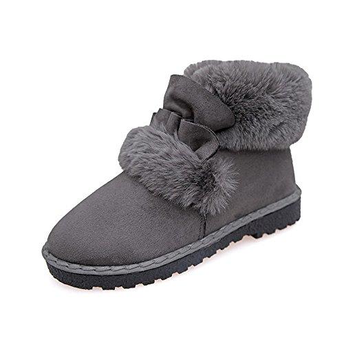 TYLS Scarpe lww Donna scarponi da neve a fondo piatto a testa tonda di peluche colore solido Grey