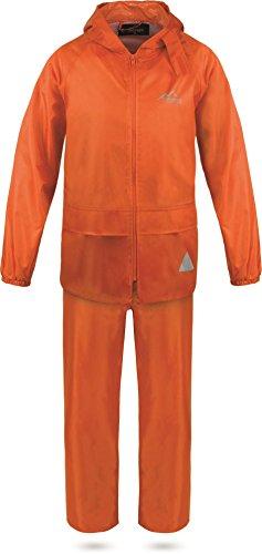 normani Kinder Kids Regenanzug aus Regenjacke mit Kapuze und Regenhose - 100% Wasserdicht + Winddicht absoluter Wetterschutz Farbe Orange Größe XS/110-116