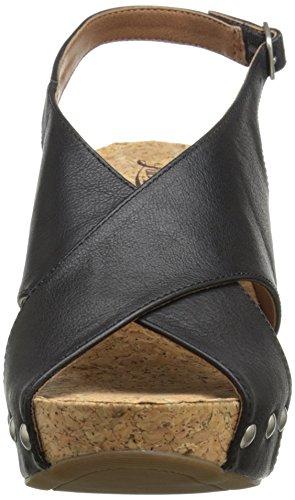 Lucky Brand Minari Cuir Sandales Compensés Black