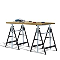 HOMCOM Set of 2 Adjustable Telescopic Builders Trestle DIY Steel Work Bench Carpenter Folding Saw Horse Tools