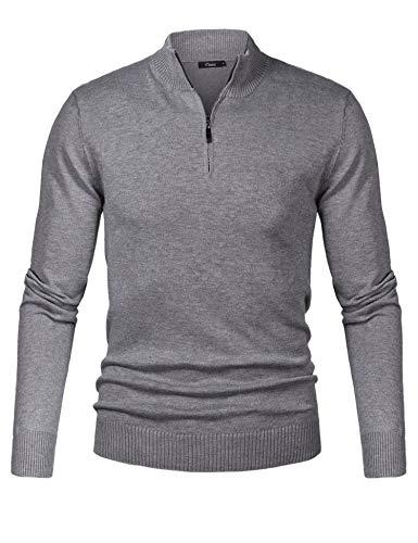 iClosam Herren Strickpullover Slim Fit Strick Pullover Mit Stehkragen Und Reißverschluss Grau Medium