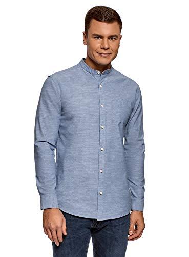 Oodji ultra uomo camicia in cotone con taschino, blu, 41 сm/it 48 / m