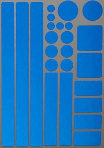 easydruck24de Aufkleber-Set Kreise Quadrate Streifen Rechtecke I blau, selbstklebend I Bogen 20 x 30 cm I für Fahrrad-Helm Auto Kinderwagen draußen I Reflex_001