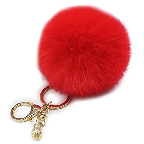 (KDSANSO Pompom Schlüsselanhänger,Weiche Nette Handtaschen-Auto-Schlüsselring-Anhänger-flaumige Schlüsselbund-Beutel-hängende Verzierung,Rot 8cm)
